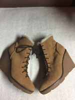 Michael Michael Kors Women's Brown Suede Leather Ankle Boots Lace Up Size 9.5 M