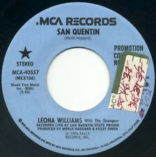 "LEONA WILLIAMS & THE STRANGERS San Quentin/same 7"" 1976 MCA promo VG+"
