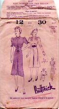30s Butterick Sewing Pattern 8161 Junior Miss Frock Four Piece Skirt Size 12