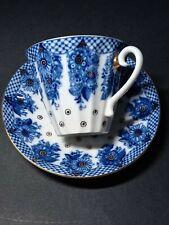 More details for lomonosov cobalt and gilt cup and saucer