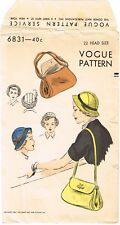 """VOGUE # 6831 Unique HAT & BAG Fabric Sewing Pattern Chemo Cancer Alopecia 22"""""""