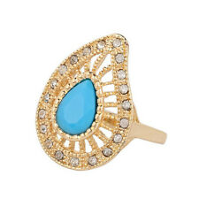 Gold Turquoise Blue Stones Wave Leaf Women Large size Q 18 mm Ring FR269