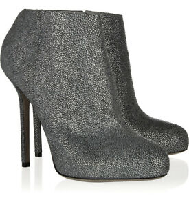SERGIO ROSSI ANKLE BOOTS SHAGREEN LEATHER GRAY BOOTIES BARBIE $885 39 / 9