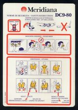 MERIDIANA Italian Airline DC9 80 SAFETY CARD w CELL PHONE icon alitalia sc788 ax