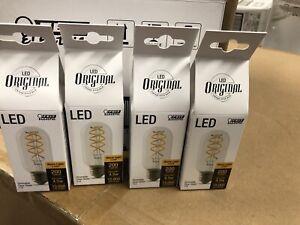 4 Feit Electric 25 Watt Equivalent T14 Spiral Filament LED Light Bulbs 4.5w New