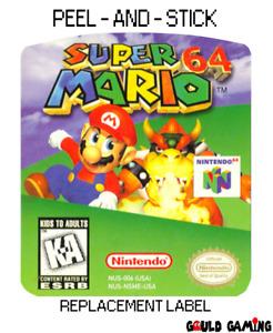 Super Mario 64 Replacement Label Sticker Decal Vinyl Video Nintendo Game New