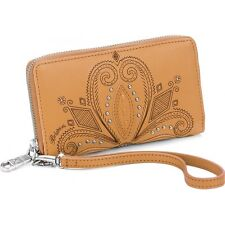 NWT Brighton INDIE Camel Tan Leather Studded Zip Around Tech Wallet MSRP $145