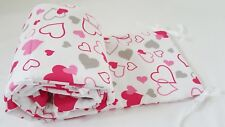 COT BUMPER double-sided STRAIGHT FILLED PADDED FOR COT/COT BED GREY PINK HEARTS