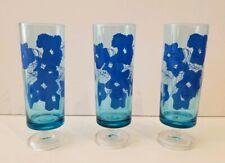 Set of 3 Vintage Blue Floral Drinking Glasses textured pattern w/ Ribbed stem