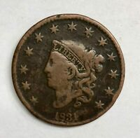 1831 Coronet Head Large Cent 1¢ Fine - Very Fine