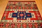 Top Quality Wool kilim area rug 5x7 handmade red and blue NAVAJO/oriental