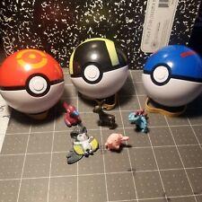 Lot of 8 Pokemon Figures & balls  Poke Ball 2.5 inch 7mm