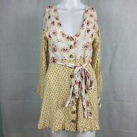 Free People Womens Yellow Floral Tie Waist Long Sleeve Mini Sun Dress Sz S