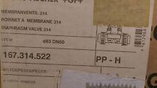 New listing Gf Type 314 Diaphragm Valve, 63mm, Pp/Epdm Butt Fusion, True Union Pn 167314522