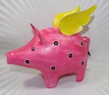 Deko-Metall-Figur*Schwein mit Flügeln 21x19x10cm*Geschenkidee*rosa Flügel gelb