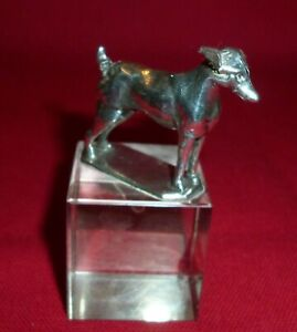 Solid Silver Dog on Glass Cube Paperweight, Levi & Salaman, Birmingham 1908