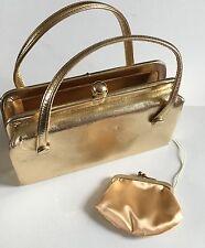 Vtg Mid Century Metallic Gold Bag After Five Handbag Plus Coin Purse 1950's