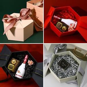 Bowknot Hexagonal Packing Gift Box Wedding Birthday Lipstick Perfume Case Decor