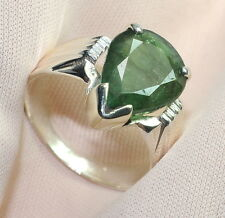 4.90 CT NATURAL ZAMBIA PEAR CUT EMERALD 92.5 STERLING SILVER Astrological RING