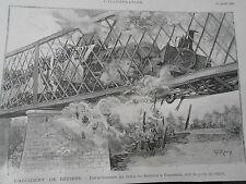 Gravure 1892 - L'accident de Béziers déraillement du train de Béziers à Cessenan