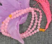 6mm stone Buddhist Pink quartz 108 Prayer Beads Mala Bracelet Necklace JN1455
