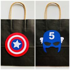 12 Unit CAPTIAN AMERICA Birthday Cadies Bags Paper Kraft 10x3x8 Size PERSONALIZE