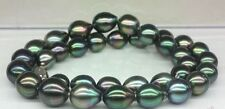 "Huge 18"" 13-14mm natural tahitian black green baroque pearl necklace"