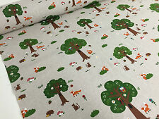 Designer Natural Woodland Friends TREE Printed Curtain Fabric Upholstery Blinds