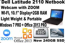 Dell Latitude 2110 Laptop✅Win7 Pro_Office 2013 Pro ✅Webcam+Zoom_New 240Gb Ssd