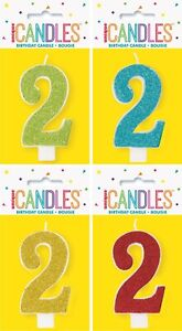 GLITTER NUMBER EACH CANDLE - 2 CAKE TOPPER
