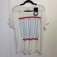 Chaser Women's White OUI T shirt Top Short Sleeve sz M medium