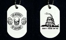 "2nd Amendment Skull Don't Tread On Me Snake 2 Side Dog Tag Necklace 30"" Chain"