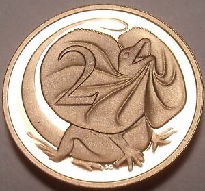 Cameo Proof Australia 1983 2 Cents~Frill Necked Lizard~Only 80,000 Minted~Fr/Shi