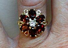 Beautiful! 3.0ct Natural Garnet Diamond Designer Ring In 14K Yellow Gold