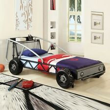 Youth Lovely Nice Gift Kids Boys Children Race Car Twin Bed Study Metal Frame