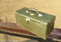 13503/ Vintage Simonsen Metal Fishing TACKLE BOX ~ tool storage ~ estate item