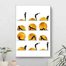 Yoga Chart Sun Sport Poster Abstract Wall Art Canvas Print Gym Room Decoration