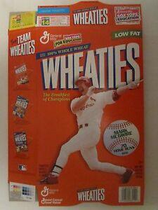 Empty WHEATIES Cereal Box 1998 MARK MCGWIRE 70 Home Runs 18 oz