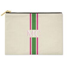 PERSONALISED MONOGRAMMED INITIALS GREEN & PINK STRIPED CANVAS CLUTCH BAG POUCH