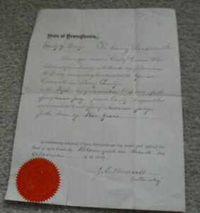 Original 1898 Pennsylvania Document with Seal Judge Assignment Look