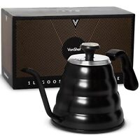 VonShef 35 Oz Gooseneck Kettle with Thermometer – Stainless Steel