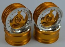 "Vintage 2.2""Aluminum Wheels 3 Spokes Gold For Team Associated RC10 World's Car"