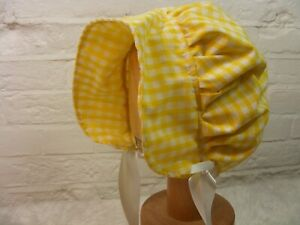 ADULT BABY SISSY BONNET yellow gingham  HAT COSPLAY LOLITA FANCYDRESS Victorian