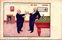 SNOOKER POOL BILLIARDS - KISS - VINTAGE POSTCARD  1907 WINE
