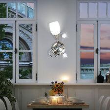 Wand Lampe Leuchte Chrom Glas Beleuchtung Blätter Wohn Ess Schlaf Zimmer Büro
