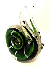 Gca Art Glass Green Snail Heavy Paperweight Figurine 5.5 inches Tall