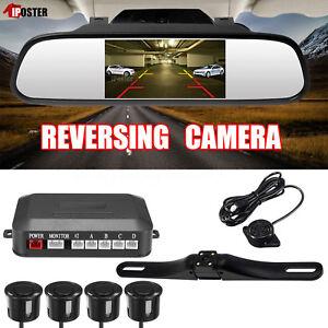 "Car Rear View Kit 4.3"" Mirror Monitor + Reversing Camera+4 Parking Sensor+Beeper"