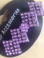 A Beautiful Diamond Design Metal Barrette Hair Clip With Pretty Purple Stones