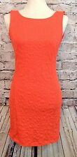 GB Womens Dress Size M Orange Textured Exposed Zipper Ruffle Low Back  (w-362)
