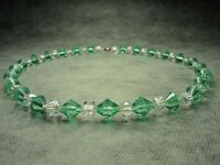 Gorgeous Vintage Czech faceted Green Crystal Glass& Clear Glass Bead Necklace